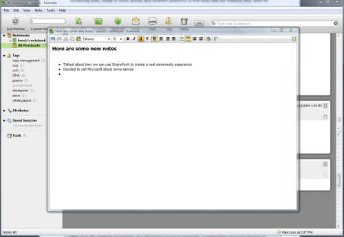 Evernote editing window