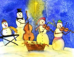 Snowmen making music