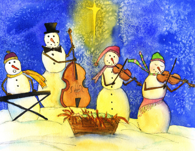 Snowmen making music