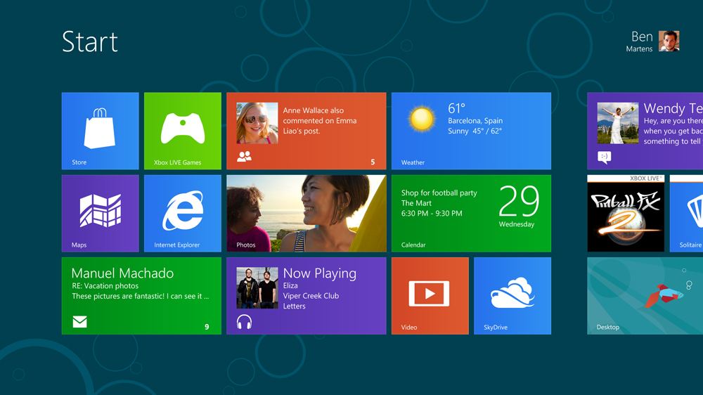 Windows 8 start screen (courtesy Microsoft)
