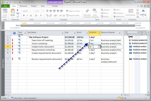 Enter task estimates into the Duration column