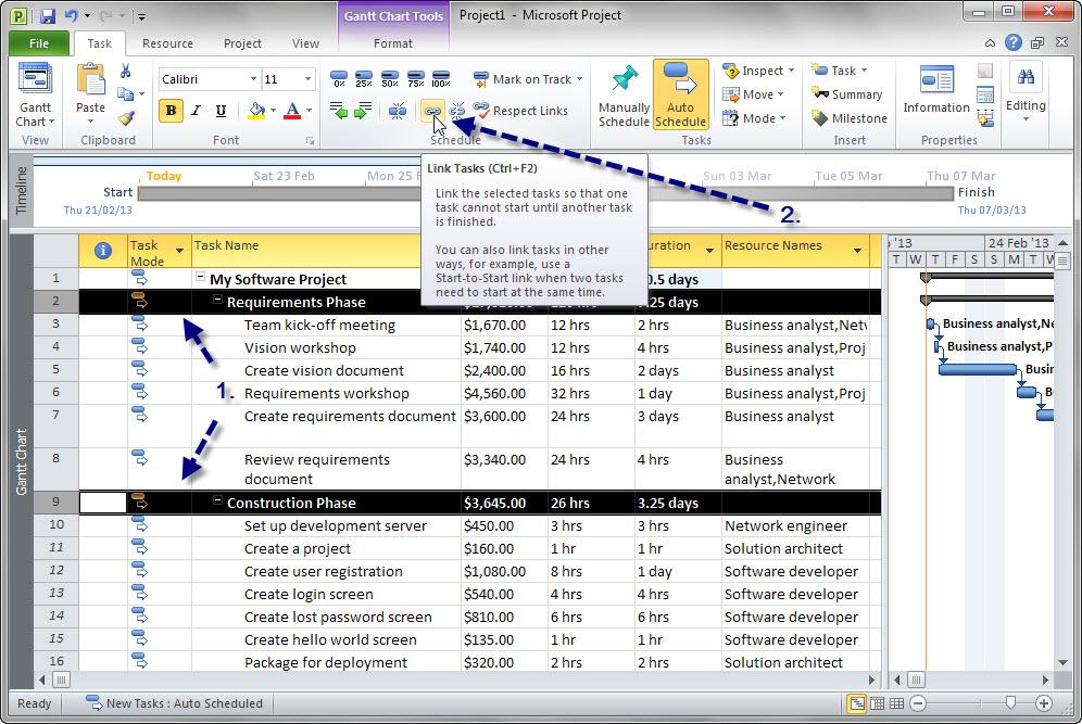 how to estimate a project using microsoft project